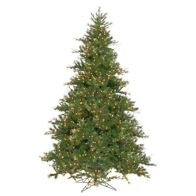 Vickerman Mixed Country Pine 9' Green Artificial Christmas Tree with 1100 Clear Lights with ...