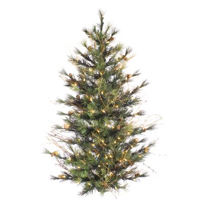 Vickerman Mixed Country Pine Wall 4' Green Pine Artificial Christmas Tree with 150 Clear Lights ...