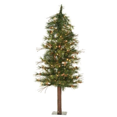 Vickerman Mixed Country Alpine 6' Green Artificial Christmas Tree with 200 Clear Lights with ...