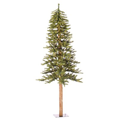 Vickerman Natural Alpine 7' Green Artificial Christmas Tree with 300 Clear Lights with Stand