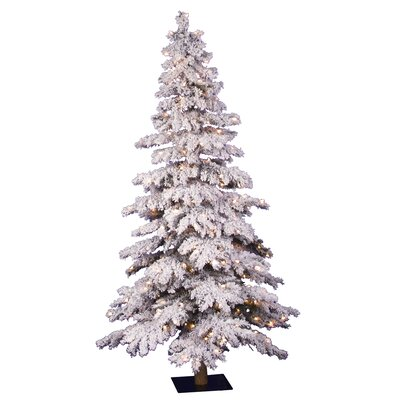 Flocked Spruce Alpine 6' White Artificial Christmas Tree with 300 Clear Lights with Stand