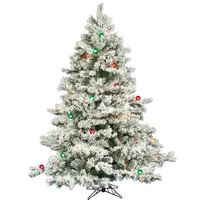 Vickerman Co. Flocked Alaskan 6.5' White Artificial Christmas Tree with 600 Multicolored Lights with Stand