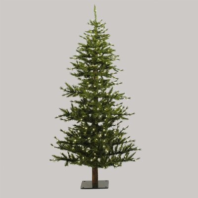Vickerman Minnesota Pine 6' Green Artificial Half Christmas Tree with Stand