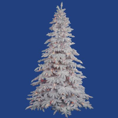Vickerman Flocked White Spruce 4.5' Artificial Christmas Tree with 225 LED Multicolored Lights ...