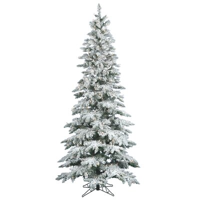 Vickerman Flocked Utica Fir 6.5' White Artificial Christmas Tree with 300 Clear Lights with ...