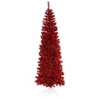 "Vickerman Co. Pencil 5' 6"" Red Artificial Christmas Tree with 250 Red Lights"
