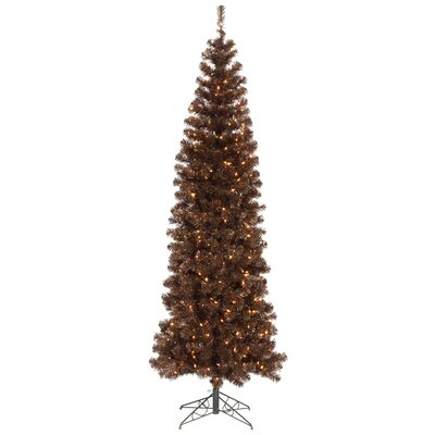 Vickerman 7.5' Mocha Artificial Pencil Christmas Tree with 400 Clear Mini Lights