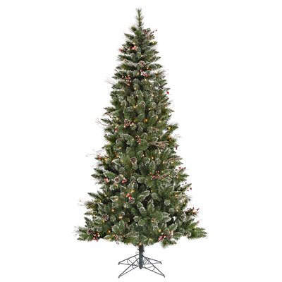 Vickerman 9' Green Snowtip Berry/Vine Artificial Christmas Tree with 650 Clear Mini Lights with ...