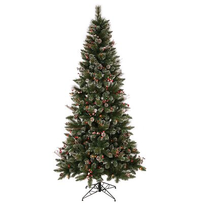 Vickerman 4.5' Green Snowtip Berry/Vine Artificial Christmas Tree with 150 Multicolored Mini ...