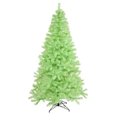 Vickerman 7' Green Chartreuse Artificial Christmas Tree with 500 Green Mini Lights with Stand