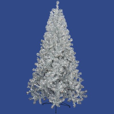 Vickerman Co. 8' Silver Artificial Christmas Tree with 600 Clear Mini Lights with Stand