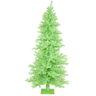 Vickerman Chartreuse Wide Cut 7.5' Green Artificial Christmas Tree with 300 Green Mini Lights ...