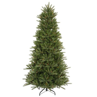 Vickerman Co. Vermont Instant Shape 8.5' Green Artificial Christmas Tree with 850 Multicolored Dura-Lit Mini Lights with Stand