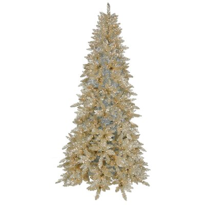 Champagne Ashley Spruce 9' Artificial Christmas Tree 900 Clear Mini Lights with Stand
