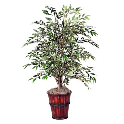 Vickerman Deluxe Artificial Potted Natural Smilax Variegated Tree in Planter