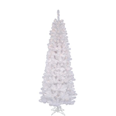 Vickerman White Salem Pencil Pine 6.5' Artificial Christmas Tree with 250 Clear Lights with ...