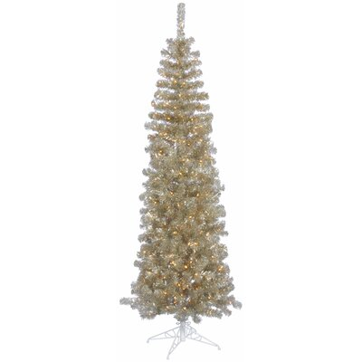 Vickerman Champagne Pencil 7.5' Artificial Christmas Tree with 400 Clear Lights