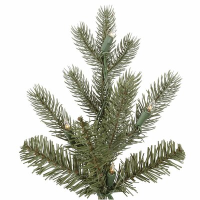 Vickerman Co. Austrian 7.5' Green Fir Slim Artificial Christmas Tree with 500 Dura-Lit Clear Lights with Stand