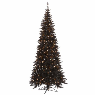Vickerman 9' Black Slim Fir Artificial Christmas Tree with 700 Mini Clear Lights