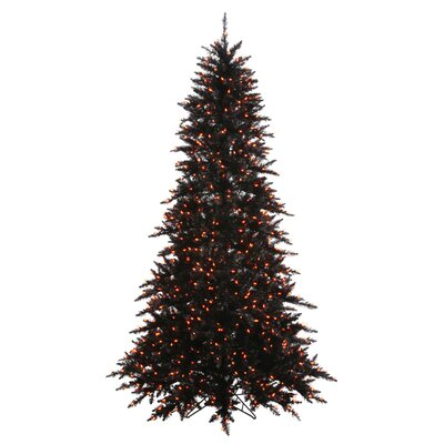 Vickerman 7.5' Black Fir Artificial Christmas Tree with 750 Mini Orange Lights