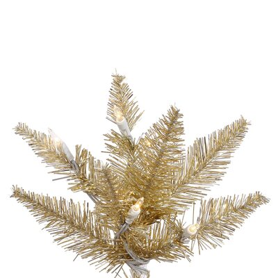 Vickerman Co. 7.5' Champagne Slim Fir Artificial Christmas Tree with 500 Mini Clear Lights
