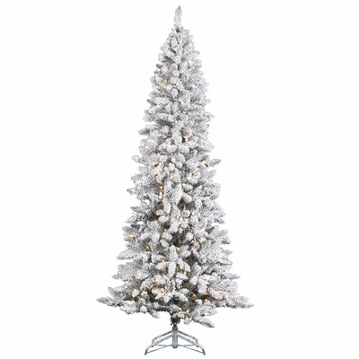 7' White Pine Artificial Christmas Tree with 350 Clear Lights and Flocked Pencil