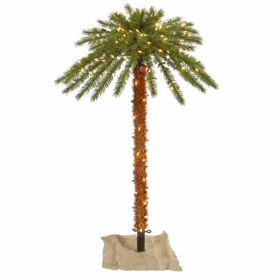 Vickerman 6' Green Outdoor Palm Artificial Christmas Tree with 300 Clear Lights