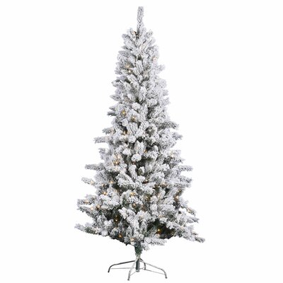 Vickerman 7.5' Slim White Pine Artificial Christmas Tree with 500 Clear Lights and Flocked