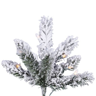 Vickerman Co. 7.5' Slim White Pine Artificial Christmas Tree with 500 Clear Lights and Flocked