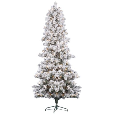 Vickerman 6' White Pine Artificial Christmas Tree with 300 Clear Lights and Flocked