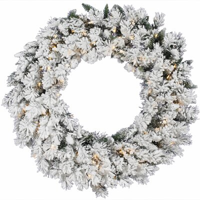 Vickerman Co. Flocked Snow Ridge Sprays Wreath with 100 Dura-Lit Lights