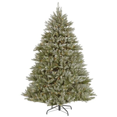 Vickerman Co. 7.5' Green Hampton Fir Artificial Christmas Tree with 700 Dura-Lit Clear Lights with Stand and Frosted with Stand