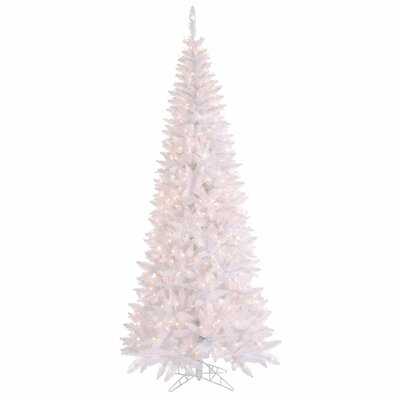 Vickerman 9' White Slim Fir Artificial Christmas Tree with 700 Mini Clear Lights