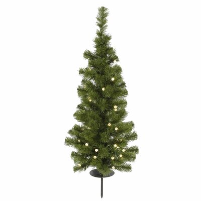 Vickerman Potted Solar 3' Green Artificial Christmas Tree with 30 LED Warm White Lights with ...