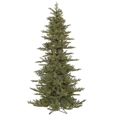 Vickerman Austrian 7.5' Green Fir Slim Artificial Christmas Tree with 500 Dura-Lit Clear Lights ...