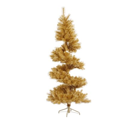 Vickerman Co. Glitter 7' Gold Spiral Artificial Christmas Tree