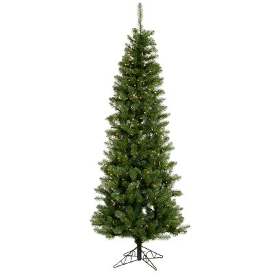 Vickerman Salem Pencil Pine 8.5' Green Artificial Christmas Tree with 450 Clear Lights with ...