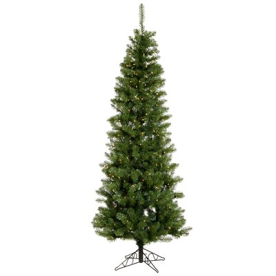 Vickerman Salem Pencil Pine 8.5' Green Artificial Christmas Tree with 360 Warm White LED Lights ...