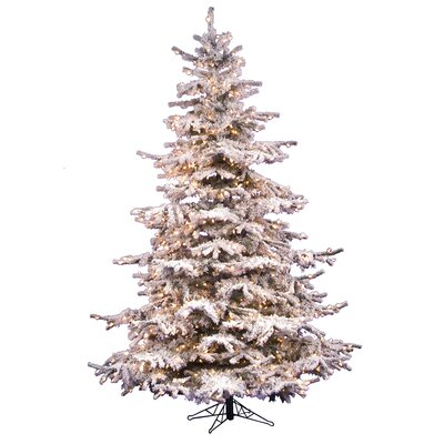 Vickerman Flocked Sierra Fir 6.5' White Artificial Christmas Tree with 550 Clear Lights with ...