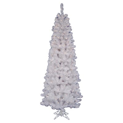 White Salem Pencil Pine 4.5' Artificial Christmas Tree with 90 LED Warm White Lights with ...