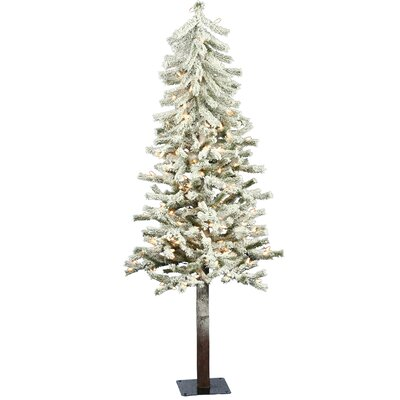 Flocked Alpine 4' White Artificial Christmas Tree with 100 Clear Lights