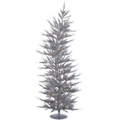 Vickerman Colorful Laser 5' Silver Artificial Christmas Tree with 100 Clear Lights
