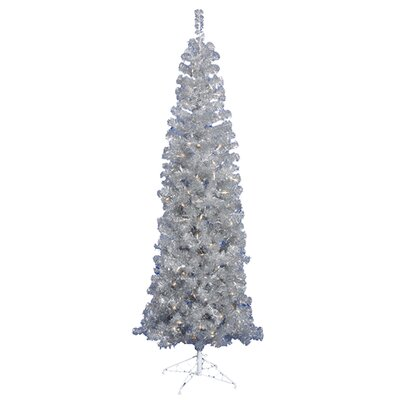 Vickerman 7.5' Silver Artificial Pencil Christmas Tree with 400 Clear Mini Lights