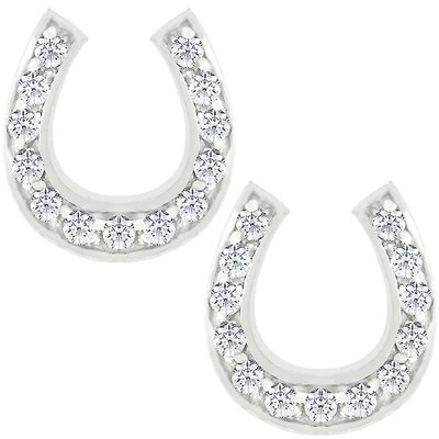 Kate Bissett Silver-Tone Cubic Zirconia Horseshoe Stud Earrings