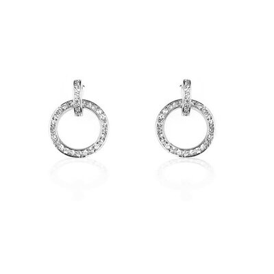 Silver-Tone Cubic Zirconia Circle Drop Earrings