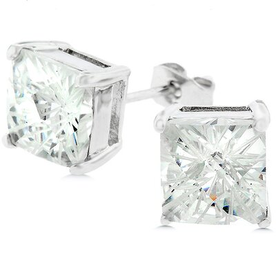 Silver-Tone Princess-Cut Cubic Zirconia Stud Earrings