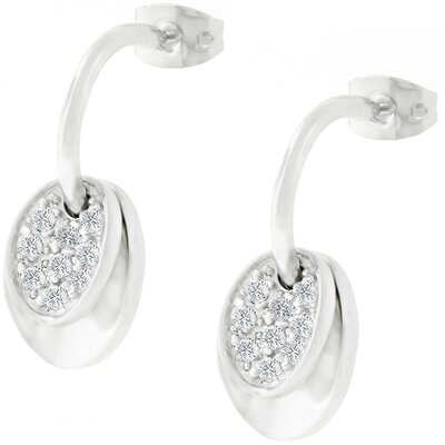 Silver-Tone Cubic Zirconia Bent Round Earrings