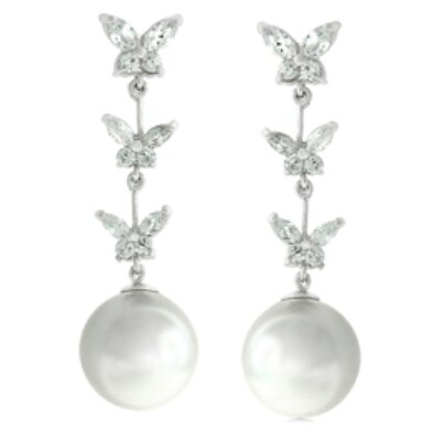 Silver-Tone Butterfly Cultured Pearl Cubic Zirconia Earrings