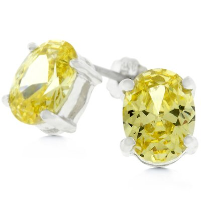 J Goodin Sterling Silver Oval Yellow Cubiz Zirconia Stud Earrings