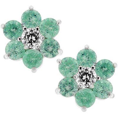 J Goodin Silver-Tone Lunar Green Cubiz Zirconia Flower Stud Earrings